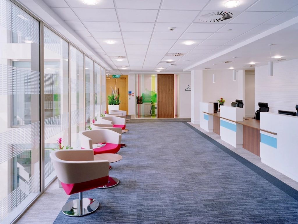 Reception Area - Clean and colourful finish on a Central London office